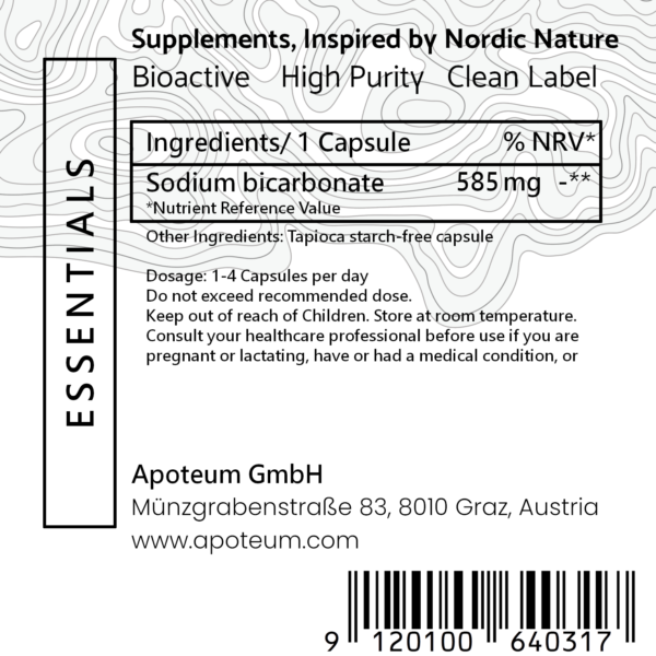 Pure Bicarbonate + antacid formula label