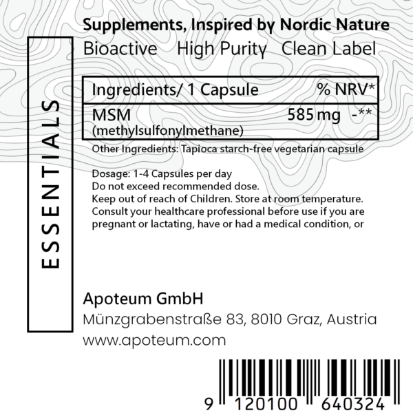 Ultra Pure MSM + Organic Sulfur label
